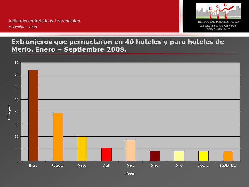 Indicadores Turísticos Provinciales Noviembre, 2008 Extranjeros que pernoctaron en 40 hoteles y para hoteles de Merlo.