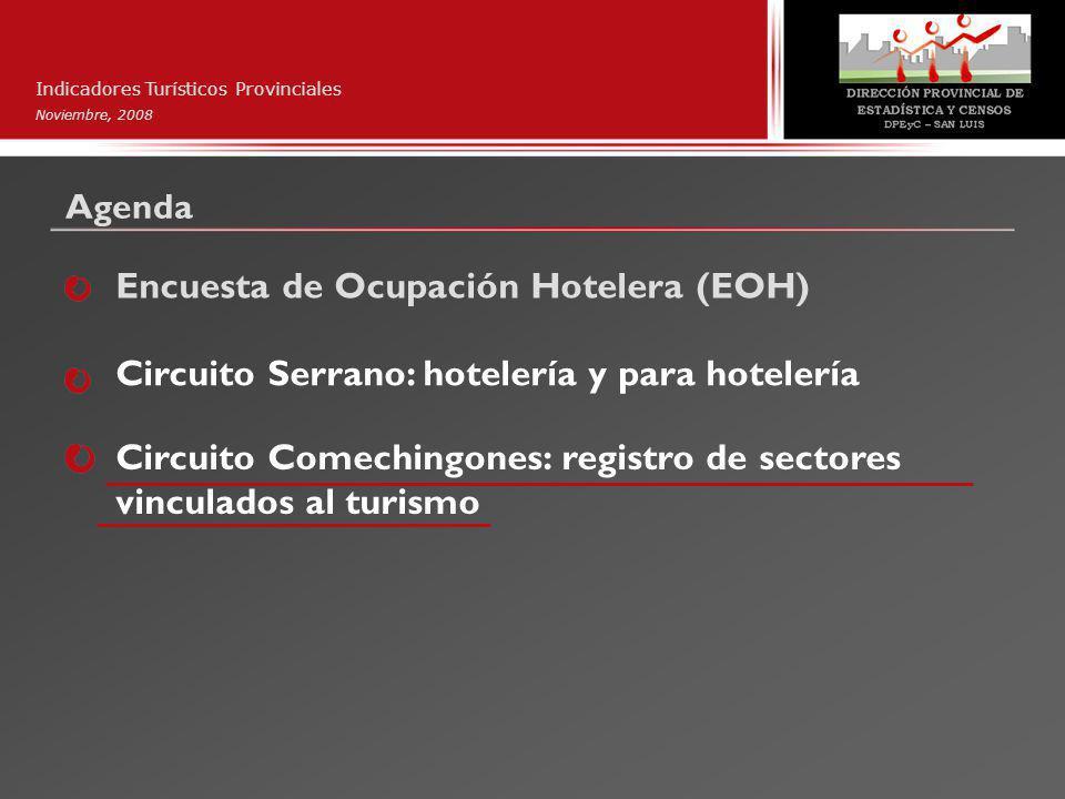 Agenda Indicadores Turísticos Provinciales Noviembre, 2008 Encuesta de Ocupación Hotelera (EOH) Circuito Serrano: hotelería y para hotelería Circuito Comechingones: registro de sectores vinculados al turismo