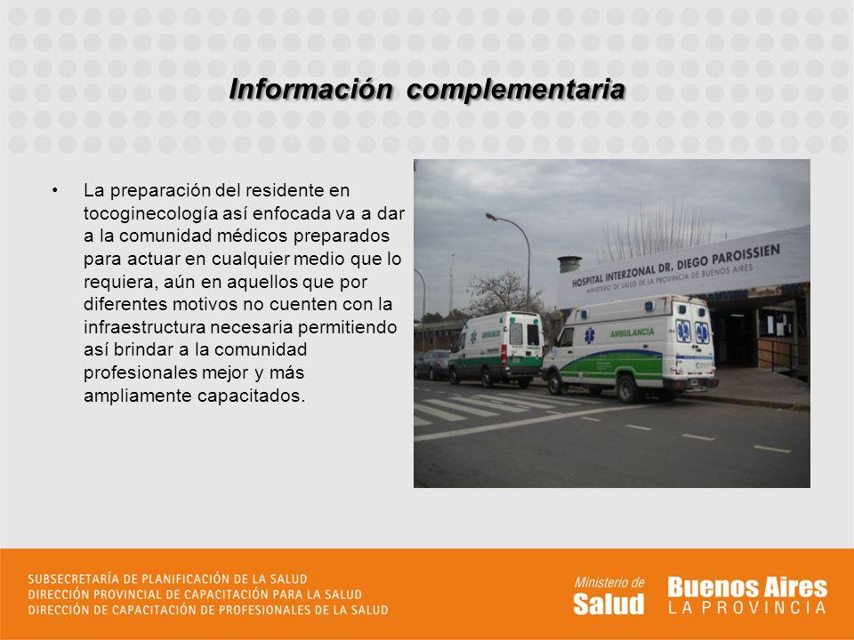 Información complementaria La preparación del residente en tocoginecología así enfocada va a dar a la comunidad médicos preparados para actuar en cual