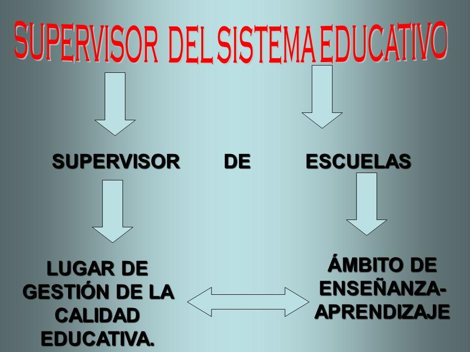 SUPERVISOR DE ESCUELAS LUGAR DE GESTIÓN DE LA CALIDAD EDUCATIVA. ÁMBITO DE ENSEÑANZA- APRENDIZAJE