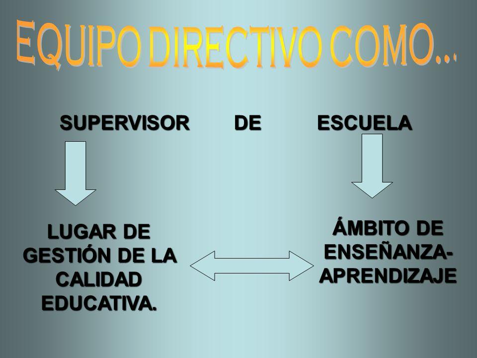 SUPERVISOR DE ESCUELA LUGAR DE GESTIÓN DE LA CALIDAD EDUCATIVA. ÁMBITO DE ENSEÑANZA- APRENDIZAJE