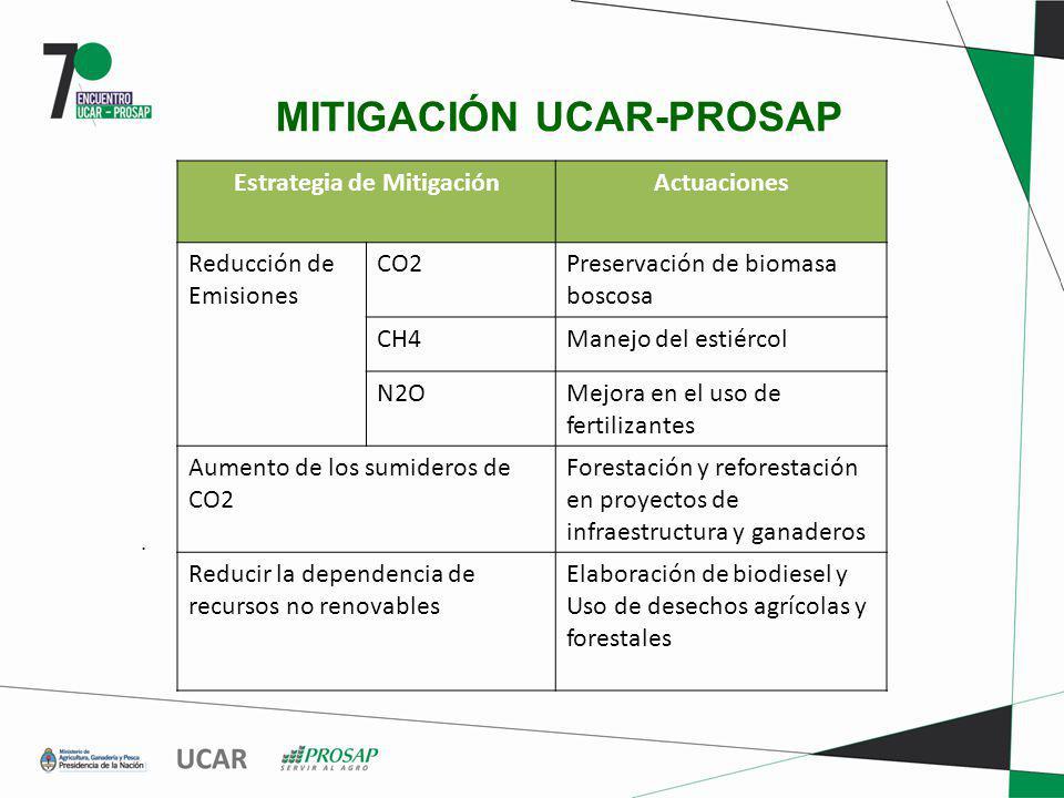 MITIGACIÓN UCAR-PROSAP. Estrategia de MitigaciónActuaciones Reducción de Emisiones CO2Preservación de biomasa boscosa CH4Manejo del estiércol N2OMejor