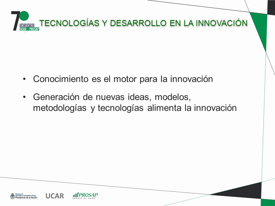 TECNOLOGÍAS Y DESARROLLO EN LA INNOVACIÓN Conocimiento es el motor para la innovación Generación de nuevas ideas, modelos, metodologías y tecnologías