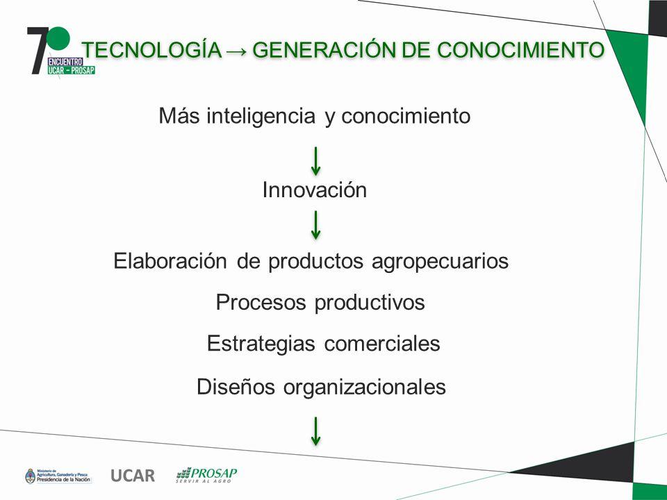 TECNOLOGÍA GENERACIÓN DE CONOCIMIENTO Innovación Elaboración de productos agropecuarios Procesos productivos Estrategias comerciales Diseños organizacionales Más inteligencia y conocimiento