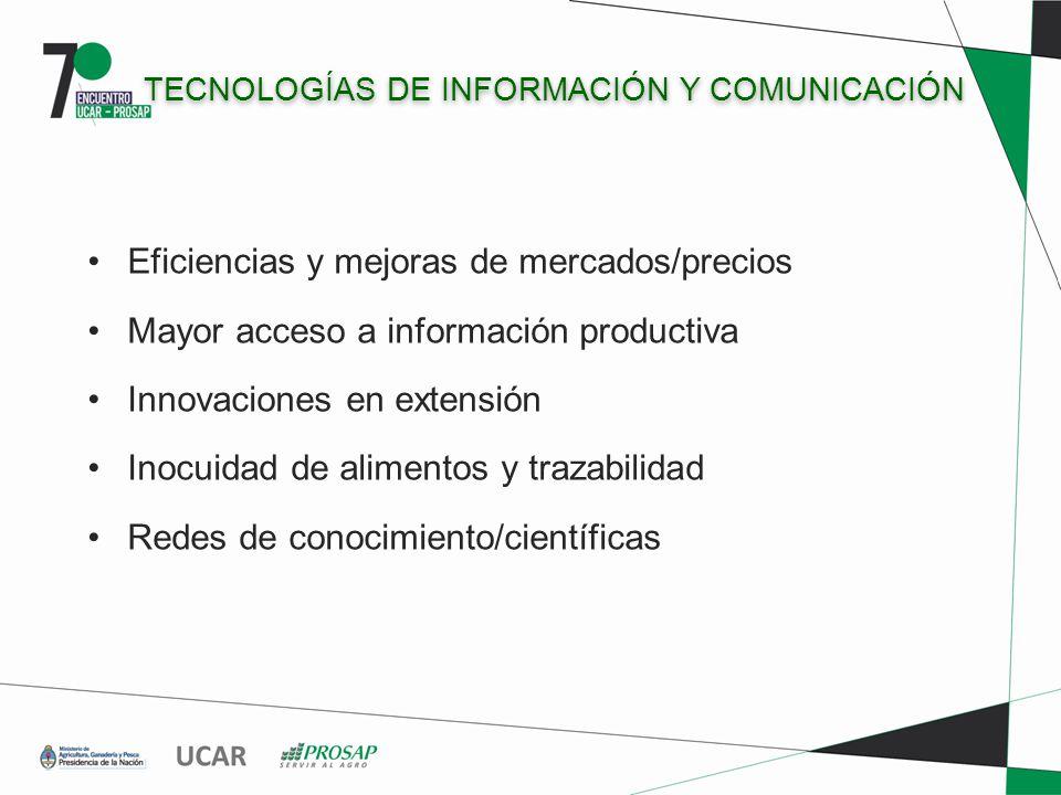 TECNOLOGÍAS DE INFORMACIÓN Y COMUNICACIÓN Eficiencias y mejoras de mercados/precios Mayor acceso a información productiva Innovaciones en extensión Inocuidad de alimentos y trazabilidad Redes de conocimiento/científicas