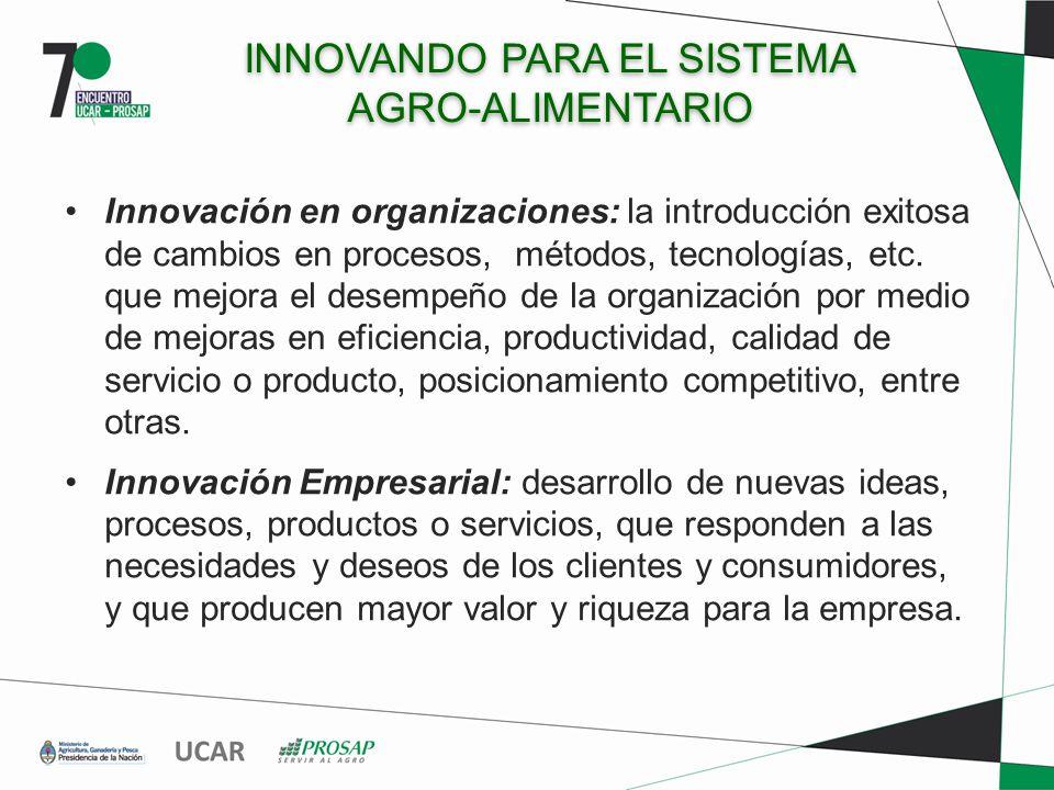 INNOVANDO PARA EL SISTEMA AGRO-ALIMENTARIO Innovación en organizaciones: la introducción exitosa de cambios en procesos, métodos, tecnologías, etc. qu