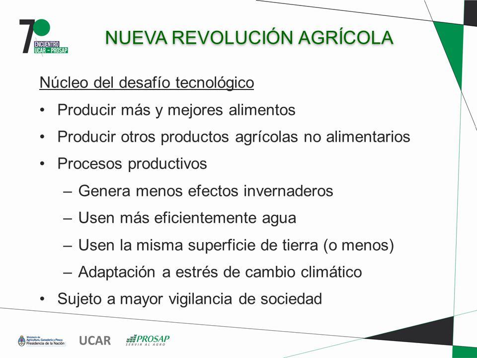 NUEVA REVOLUCIÓN AGRÍCOLA Núcleo del desafío tecnológico Producir más y mejores alimentos Producir otros productos agrícolas no alimentarios Procesos