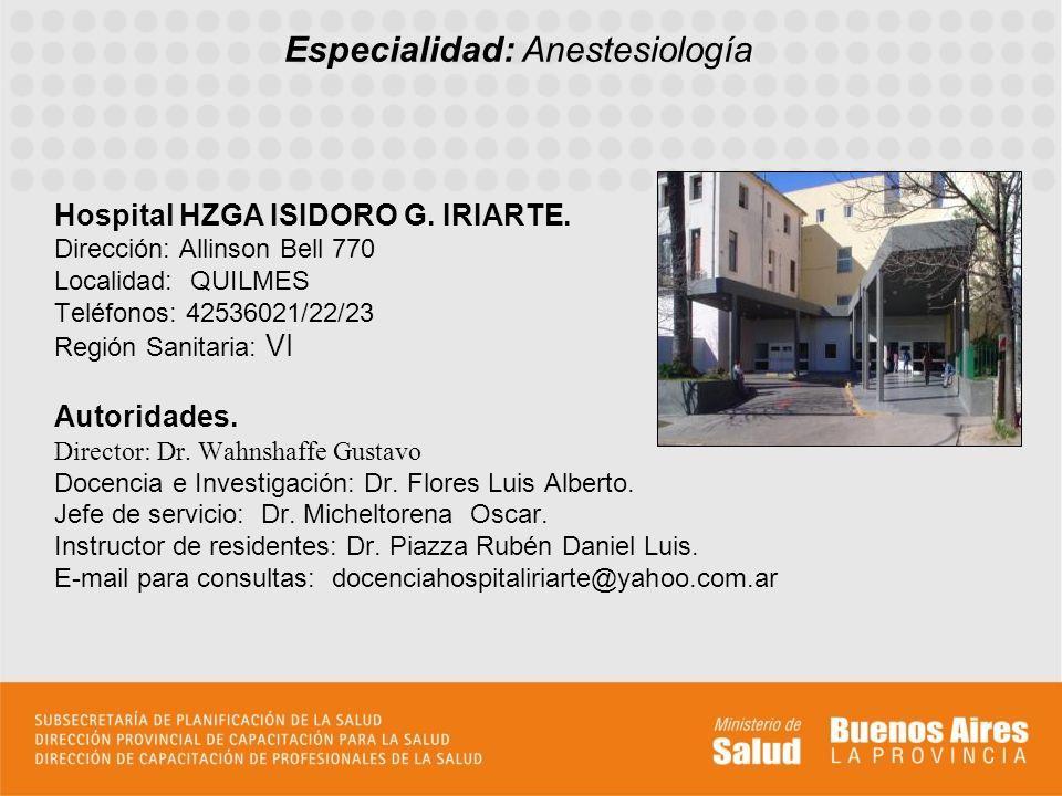 Hospital HZGA ISIDORO G. IRIARTE.