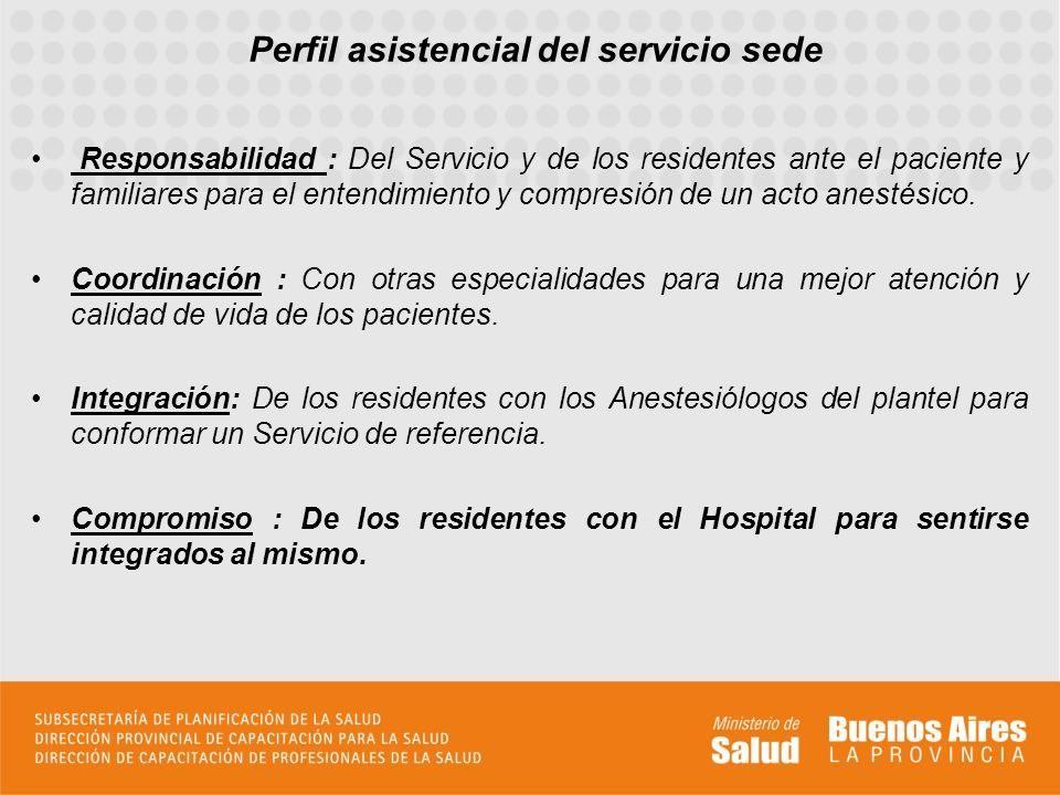 Responsabilidad : Del Servicio y de los residentes ante el paciente y familiares para el entendimiento y compresión de un acto anestésico.