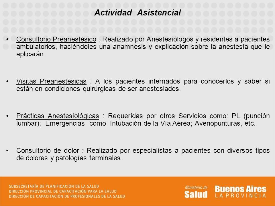 Consultorio Preanestésico : Realizado por Anestesiólogos y residentes a pacientes ambulatorios, haciéndoles una anamnesis y explicación sobre la anestesia que le aplicarán.