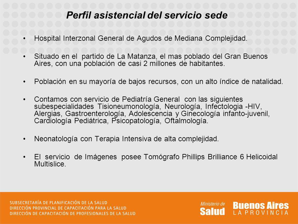 Perfil asistencial del servicio sede Hospital Interzonal General de Agudos de Mediana Complejidad. Situado en el partido de La Matanza, el mas poblado