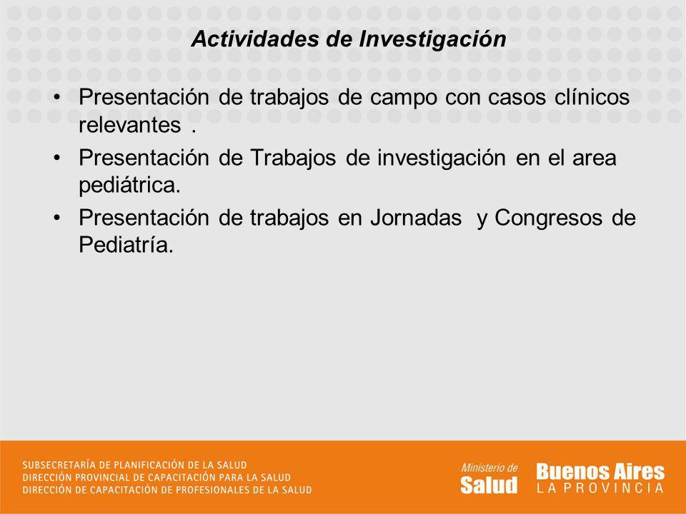 Presentación de trabajos de campo con casos clínicos relevantes. Presentación de Trabajos de investigación en el area pediátrica. Presentación de trab
