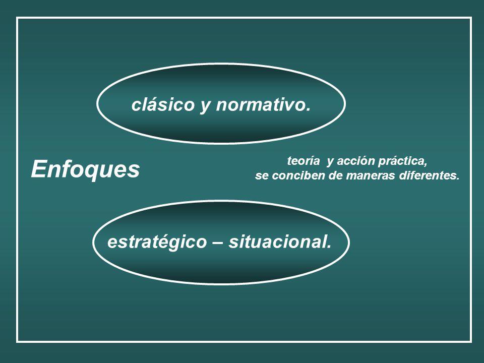Enfoques clásico y normativo. estratégico – situacional. teoría y acción práctica, se conciben de maneras diferentes.