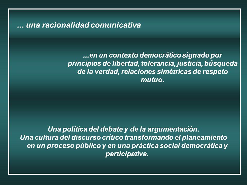 ... una racionalidad comunicativa Una política del debate y de la argumentación. Una cultura del discurso crítico transformando el planeamiento en un