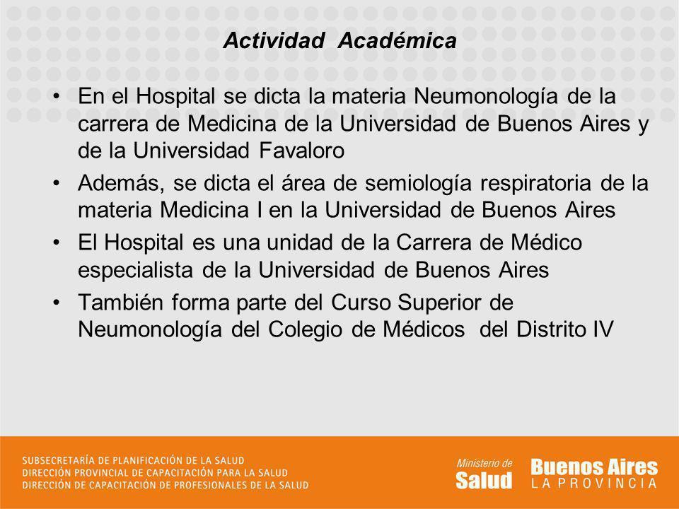 Actividad Académica En el Hospital se dicta la materia Neumonología de la carrera de Medicina de la Universidad de Buenos Aires y de la Universidad Fa