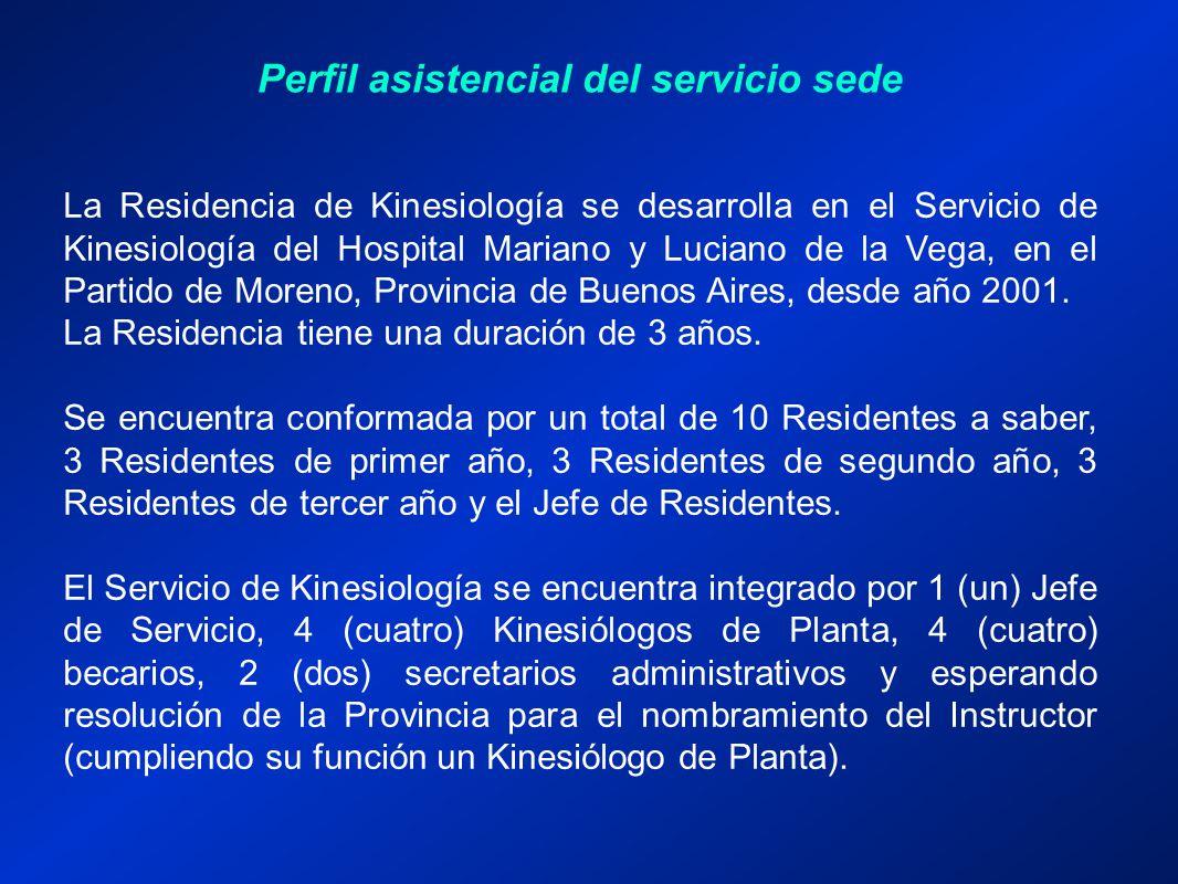 Perfil asistencial del servicio sede La Residencia de Kinesiología se desarrolla en el Servicio de Kinesiología del Hospital Mariano y Luciano de la Vega, en el Partido de Moreno, Provincia de Buenos Aires, desde año 2001.