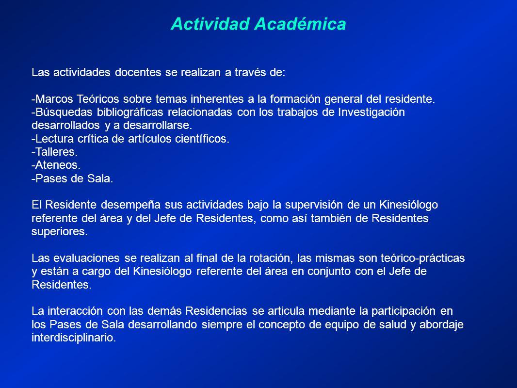 Actividad Académica Las actividades docentes se realizan a través de: -Marcos Teóricos sobre temas inherentes a la formación general del residente.
