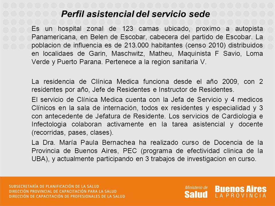 Perfil asistencial del servicio sede Es un hospital zonal de 123 camas ubicado, proximo a autopista Panamericana, en Belen de Escobar, cabecera del partido de Escobar.