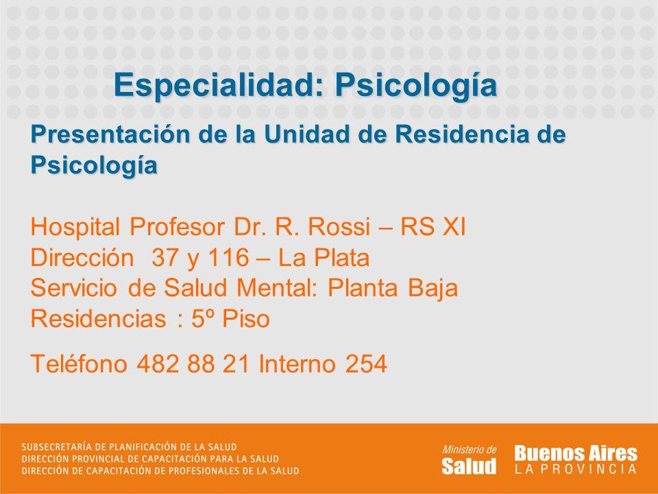Presentación de la Unidad de Residencia de Psicología Presentación de la Unidad de Residencia de Psicología Hospital Profesor Dr. R. Rossi – RS XI Dir