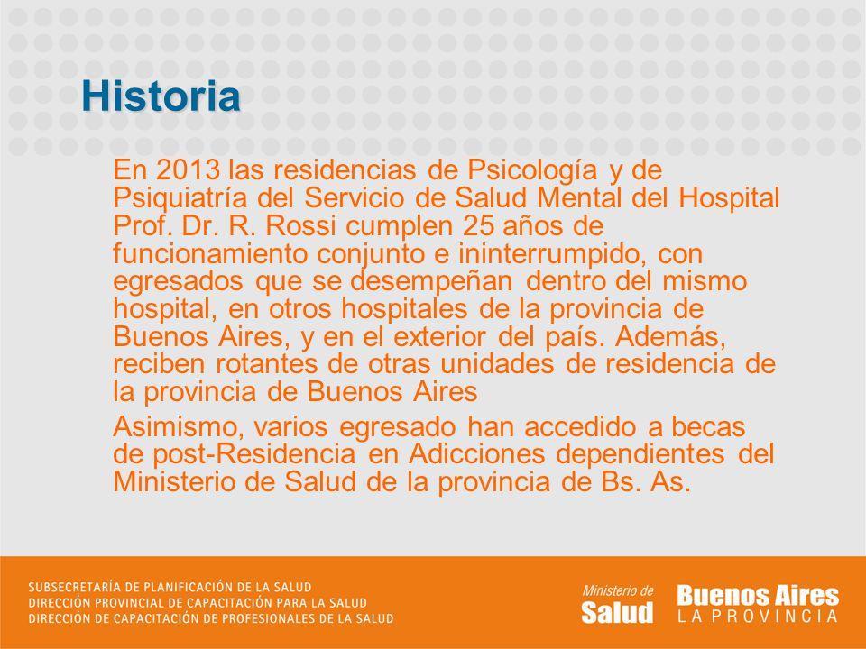 Historia En 2013 las residencias de Psicología y de Psiquiatría del Servicio de Salud Mental del Hospital Prof. Dr. R. Rossi cumplen 25 años de funcio