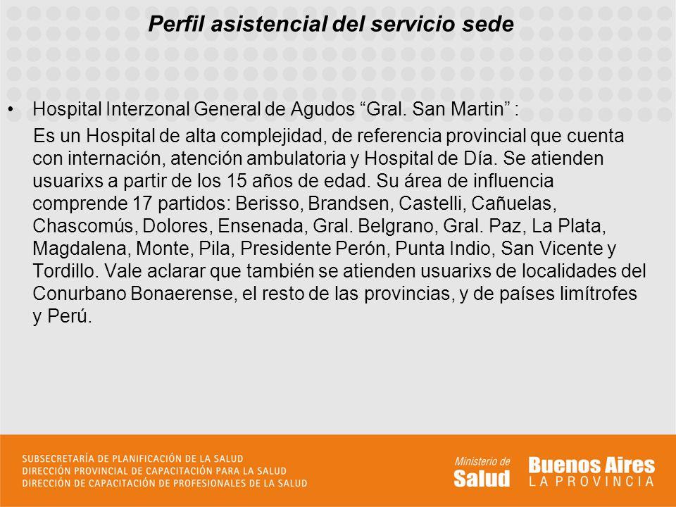 Perfil asistencial del servicio sede Hospital Interzonal General de Agudos Gral. San Martin : Es un Hospital de alta complejidad, de referencia provin