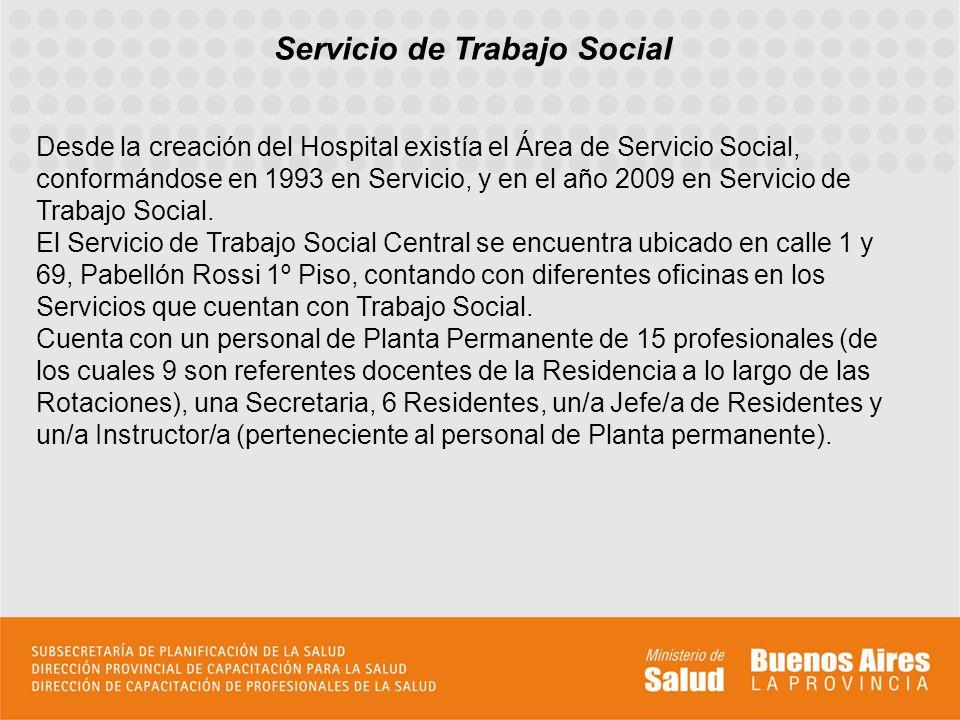 Servicio de Trabajo Social Desde la creación del Hospital existía el Área de Servicio Social, conformándose en 1993 en Servicio, y en el año 2009 en S
