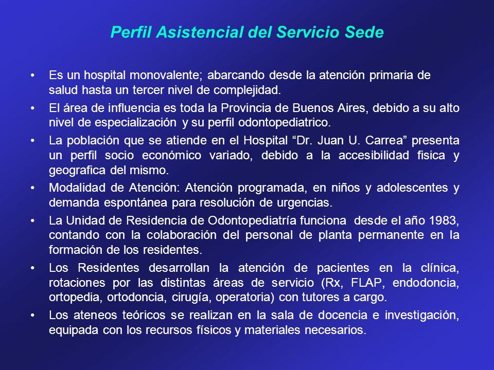 Perfil Asistencial del Servicio Sede Es un hospital monovalente; abarcando desde la atención primaria de salud hasta un tercer nivel de complejidad. E