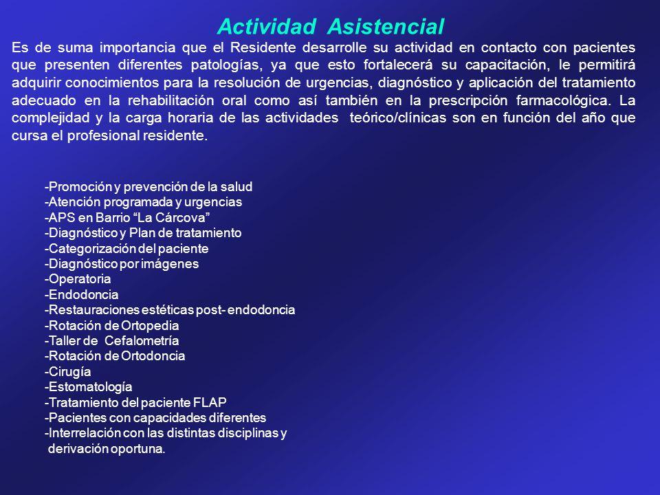 Actividad Asistencial Es de suma importancia que el Residente desarrolle su actividad en contacto con pacientes que presenten diferentes patologías, y