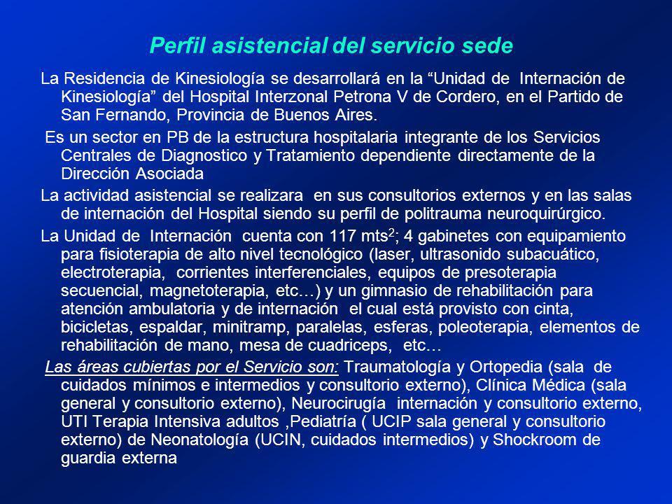 La Residencia de Kinesiología se desarrollará en la Unidad de Internación de Kinesiología del Hospital Interzonal Petrona V de Cordero, en el Partido de San Fernando, Provincia de Buenos Aires.