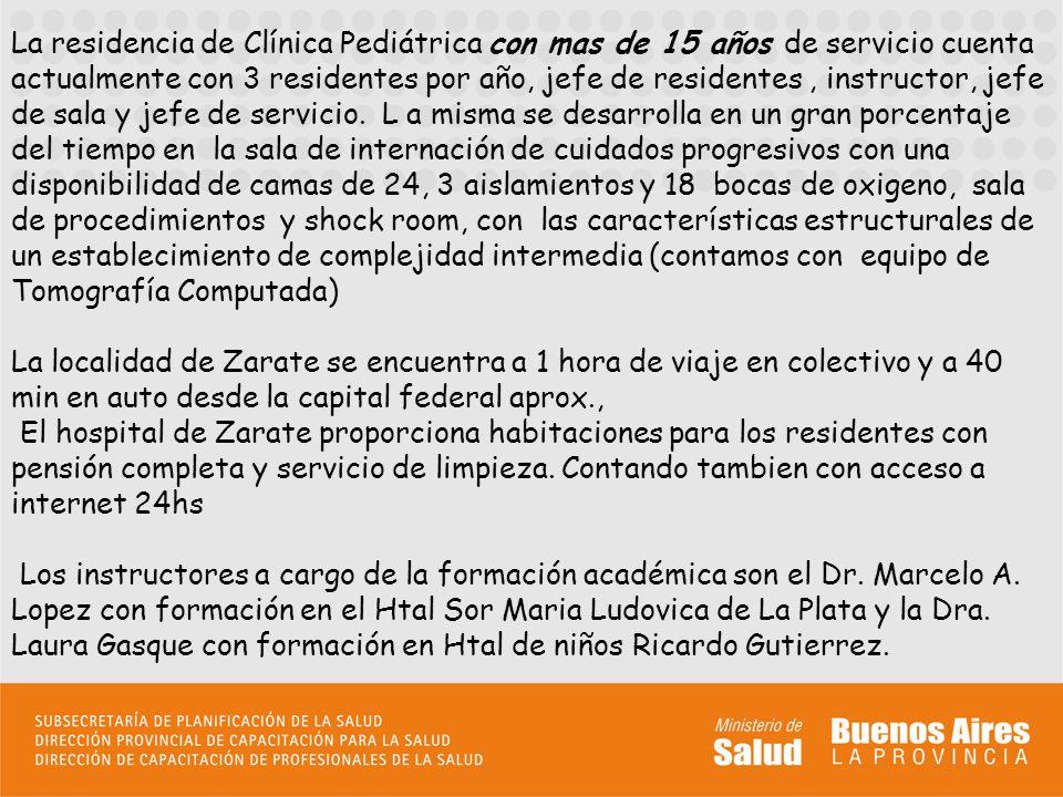 La actividad asistencial en la residencia de pediatría consiste en concurrir de lunes a viernes de 8 a 17 hs y sábados de 8 a 12 hs, cumpliendo como máximo con 8 guardias mensuales, dependiendo el numero según año de formación.