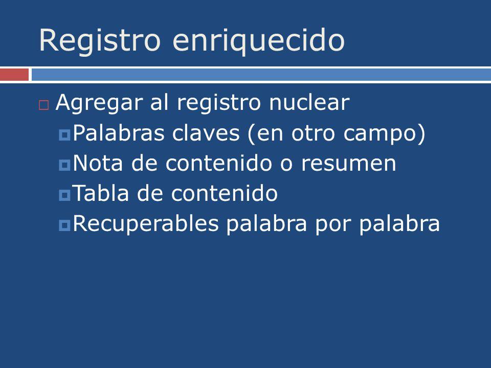 Registro enriquecido Agregar al registro nuclear Palabras claves (en otro campo) Nota de contenido o resumen Tabla de contenido Recuperables palabra por palabra