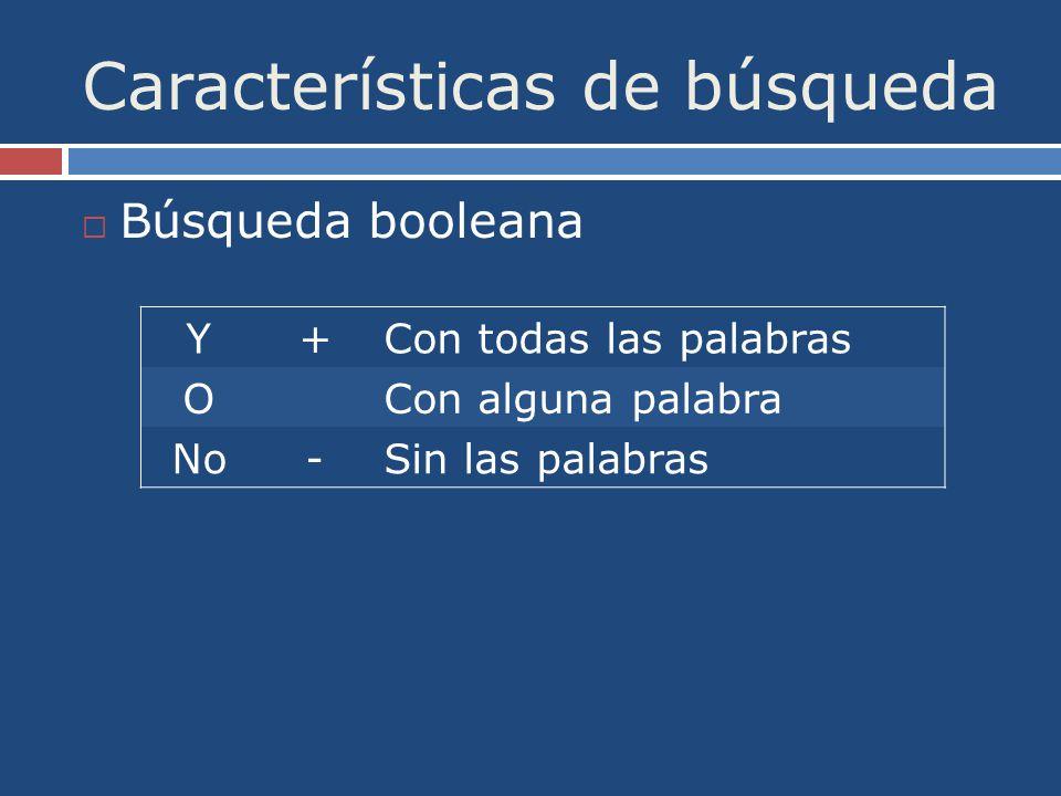 Características de búsqueda Búsqueda booleana Y+Con todas las palabras OCon alguna palabra No-Sin las palabras