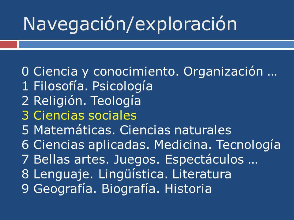Navegación/exploración 0 Ciencia y conocimiento. Organización … 1 Filosofía.