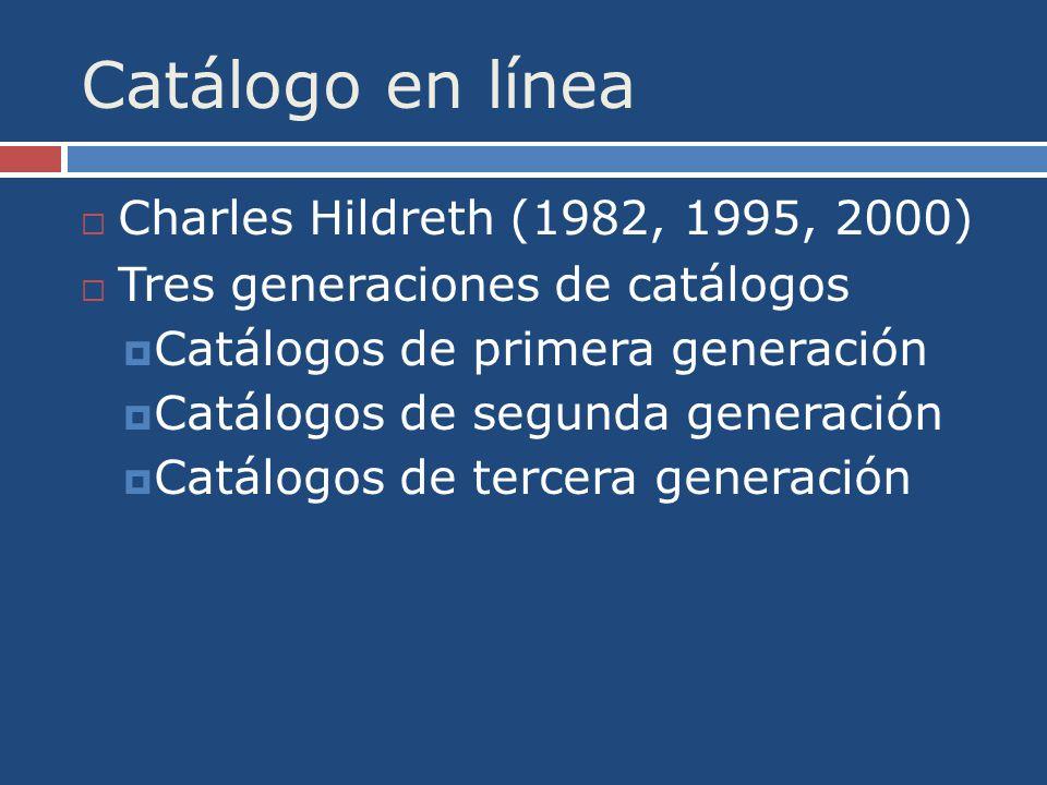 Catálogo en línea Charles Hildreth (1982, 1995, 2000) Tres generaciones de catálogos Catálogos de primera generación Catálogos de segunda generación Catálogos de tercera generación