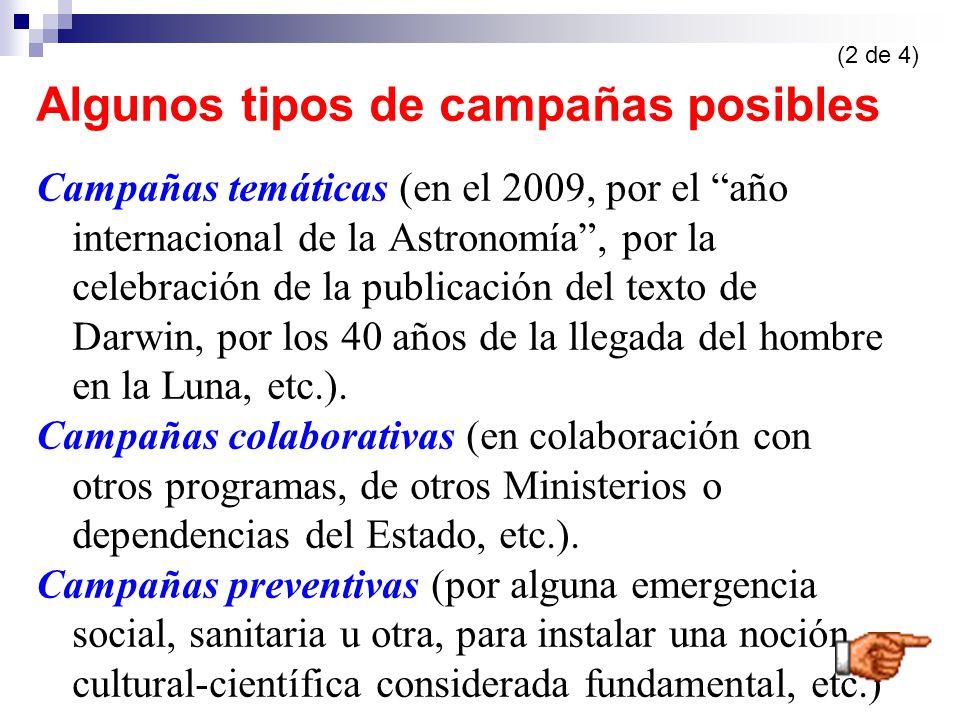 Algunos tipos de campañas posibles Campañas temáticas (en el 2009, por el año internacional de la Astronomía, por la celebración de la publicación del texto de Darwin, por los 40 años de la llegada del hombre en la Luna, etc.).