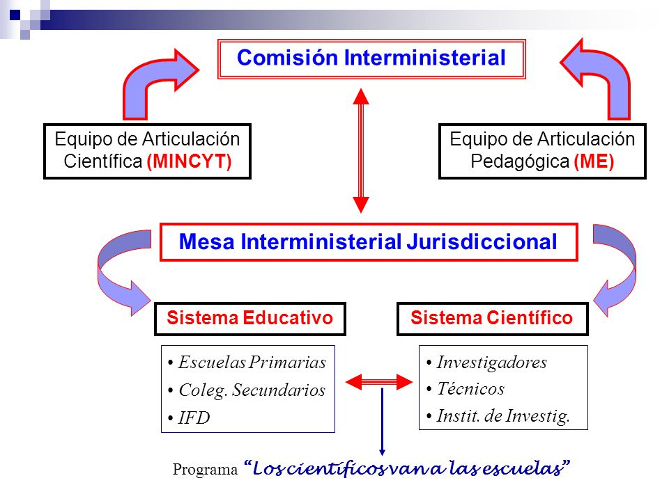 Comisión Interministerial Equipo de Articulación Científica (MINCYT) Equipo de Articulación Pedagógica (ME) Mesa Interministerial Jurisdiccional Siste