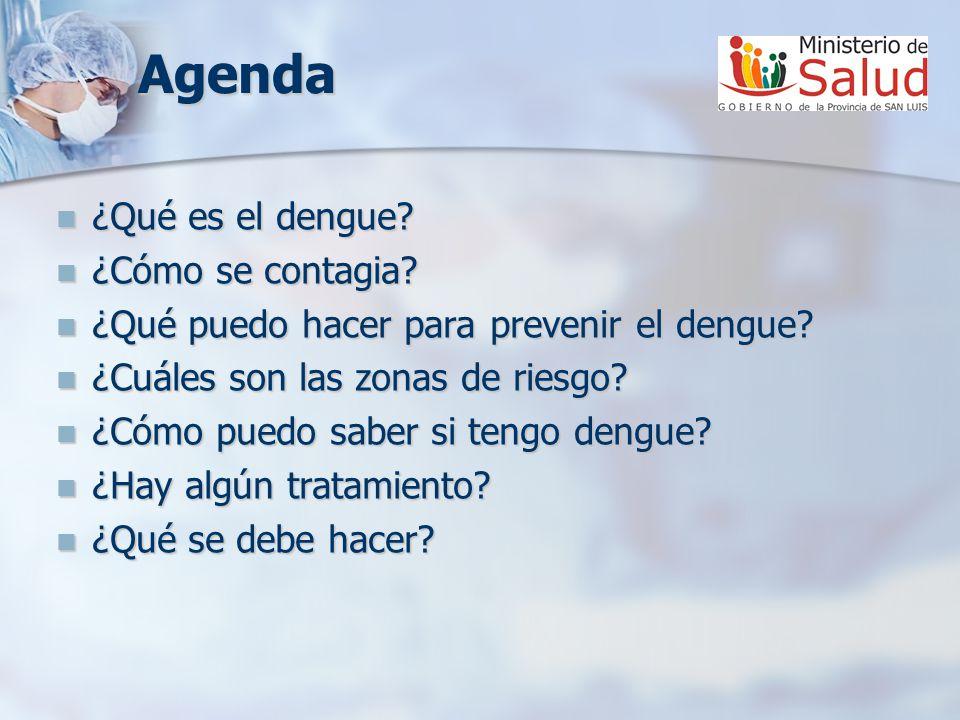 Agenda ¿Qué es el dengue? ¿Qué es el dengue? ¿Cómo se contagia? ¿Cómo se contagia? ¿Qué puedo hacer para prevenir el dengue? ¿Qué puedo hacer para pre