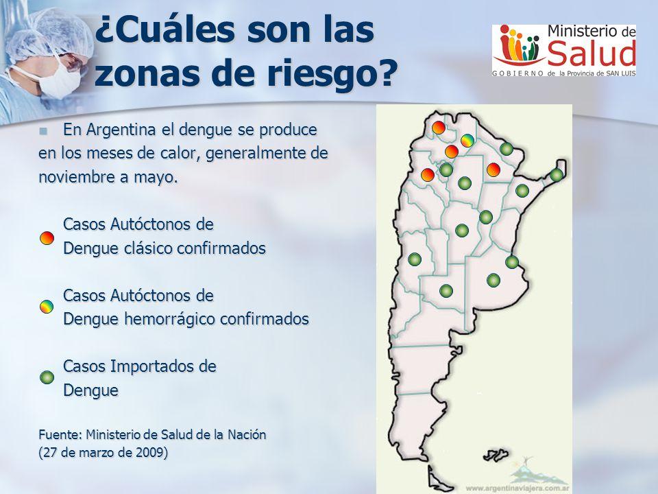 En Argentina el dengue se produce En Argentina el dengue se produce en los meses de calor, generalmente de noviembre a mayo. Casos Autóctonos de Dengu