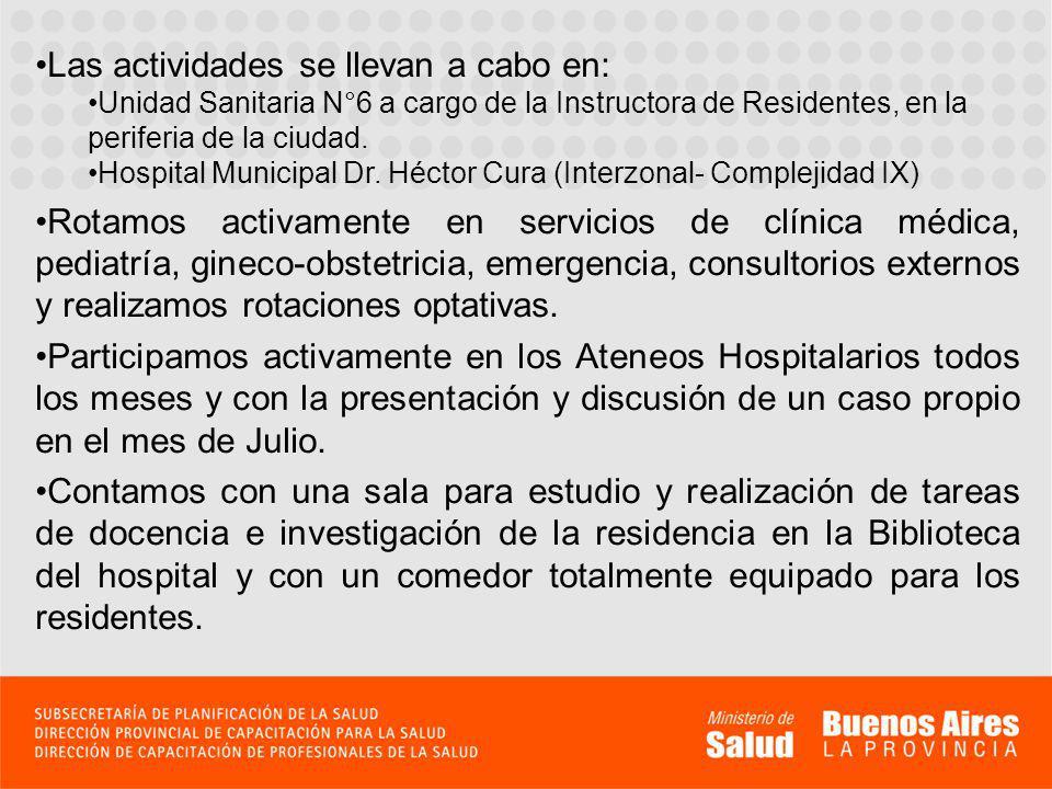Las actividades se llevan a cabo en: Unidad Sanitaria N°6 a cargo de la Instructora de Residentes, en la periferia de la ciudad.