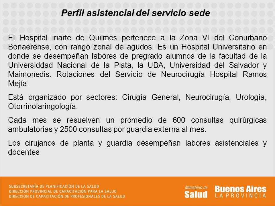 El Hospital iriarte de Quilmes pertenece a la Zona VI del Conurbano Bonaerense, con rango zonal de agudos. Es un Hospital Universitario en donde se de