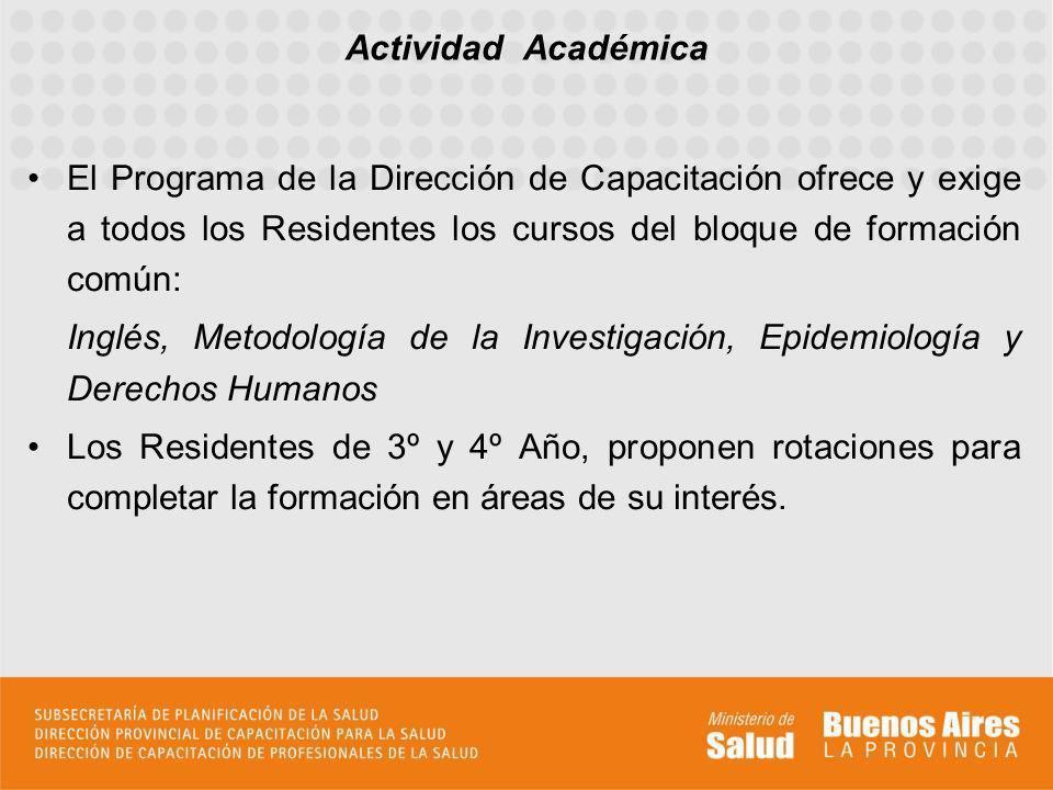 Actividad Académica El Programa de la Dirección de Capacitación ofrece y exige a todos los Residentes los cursos del bloque de formación común: Inglés