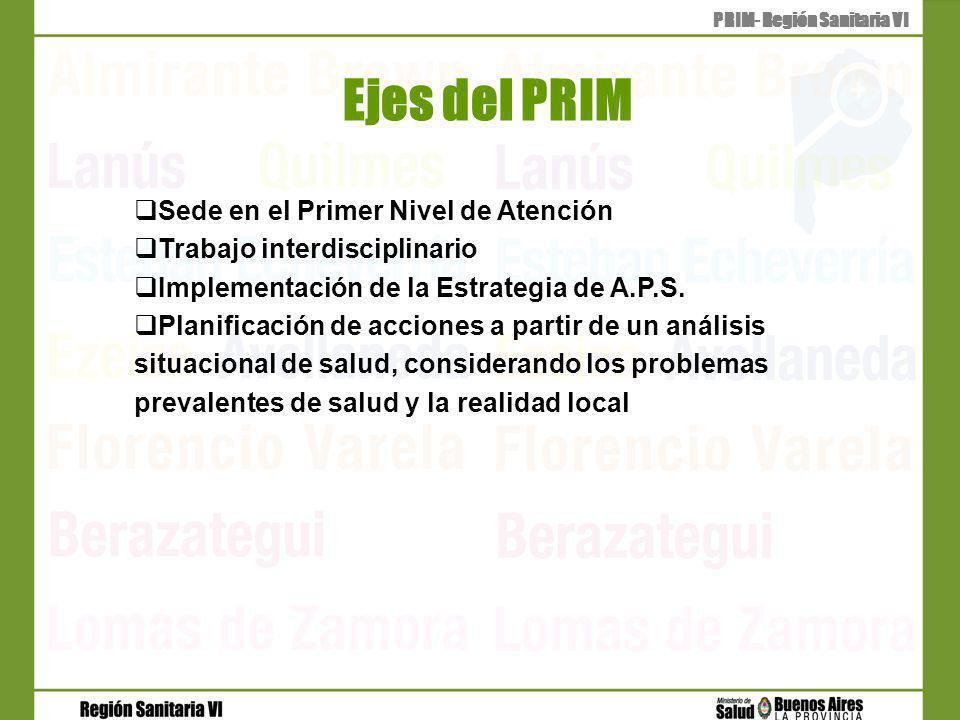 Ejes del PRIM PRIM- Región Sanitaria VI Sede en el Primer Nivel de Atención Trabajo interdisciplinario Implementación de la Estrategia de A.P.S.