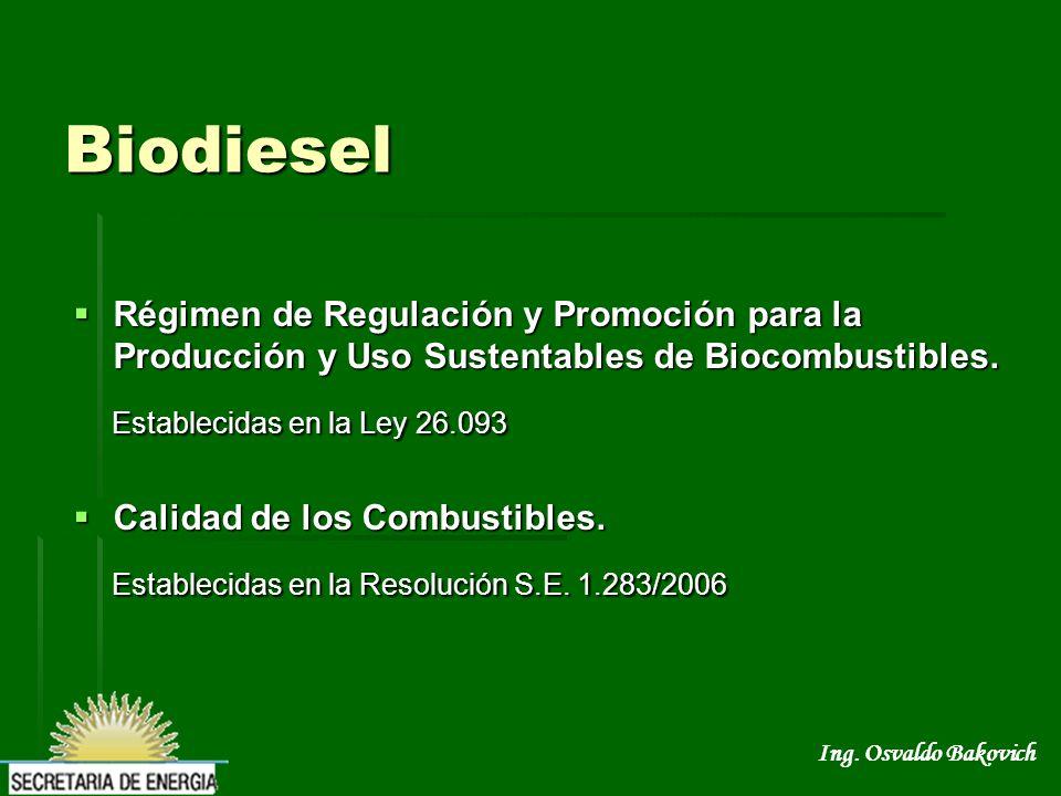 Ing. Osvaldo Bakovich Biodiesel Régimen de Regulación y Promoción para la Producción y Uso Sustentables de Biocombustibles. Régimen de Regulación y Pr
