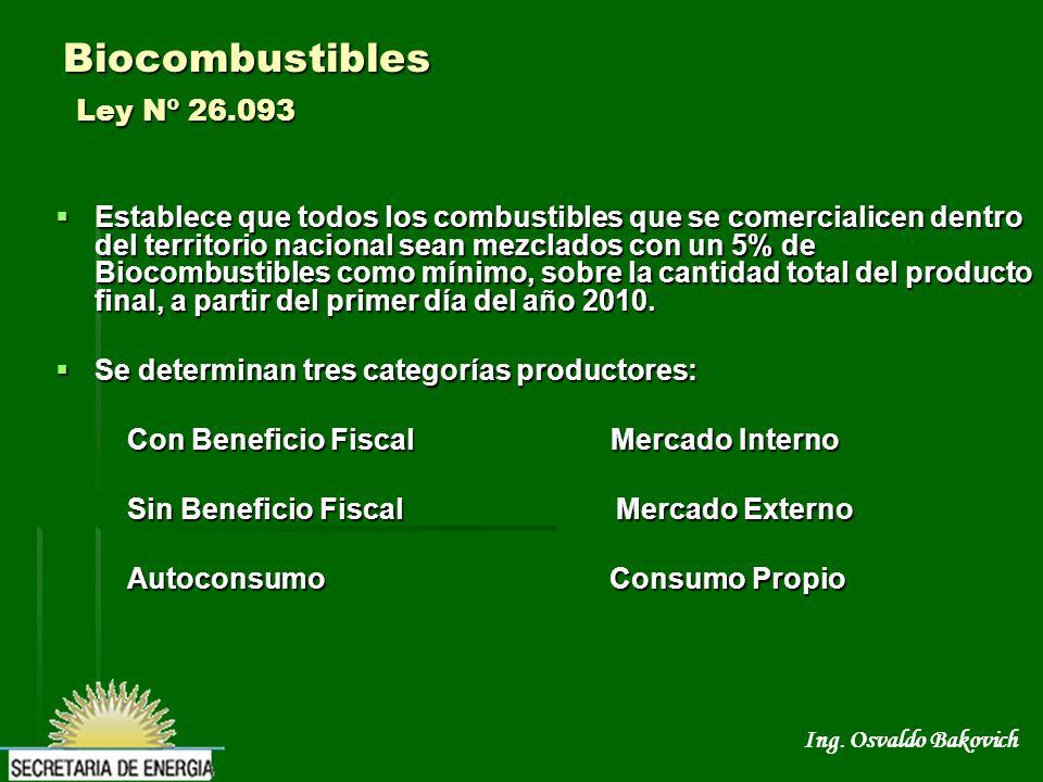 Ing. Osvaldo Bakovich Biocombustibles Ley Nº 26.093 Establece que todos los combustibles que se comercialicen dentro del territorio nacional sean mezc