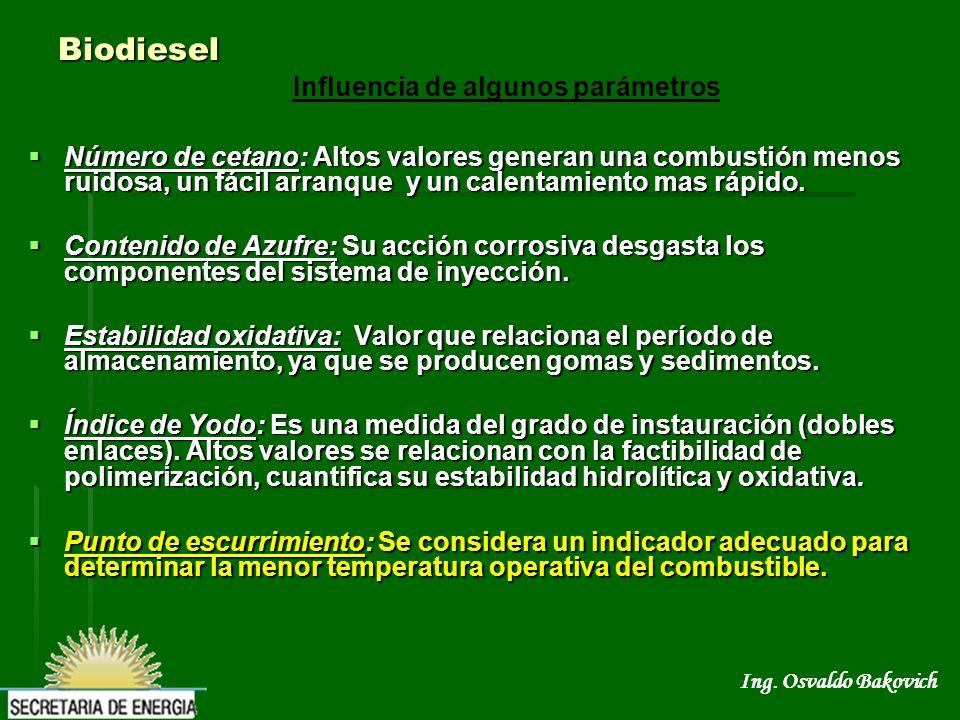Ing. Osvaldo Bakovich Biodiesel Número de cetano: Altos valores generan una combustión menos ruidosa, un fácil arranque y un calentamiento mas rápido.