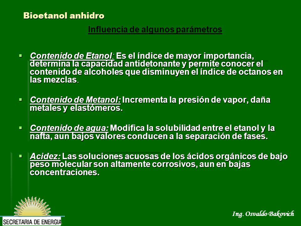 Ing. Osvaldo Bakovich Bioetanol anhidro Contenido de Etanol: Es el índice de mayor importancia, determina la capacidad antidetonante y permite conocer