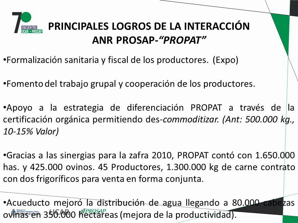 PRINCIPALES LOGROS DE LA INTERACCIÓN ANR PROSAP-PROPAT Formalización sanitaria y fiscal de los productores. (Expo) Fomento del trabajo grupal y cooper