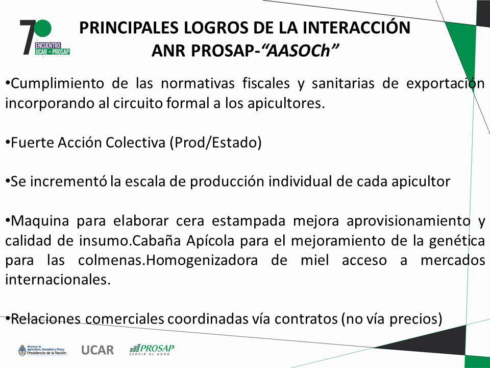 PRINCIPALES LOGROS DE LA INTERACCIÓN ANR PROSAP-AASOCh Cumplimiento de las normativas fiscales y sanitarias de exportación incorporando al circuito formal a los apicultores.