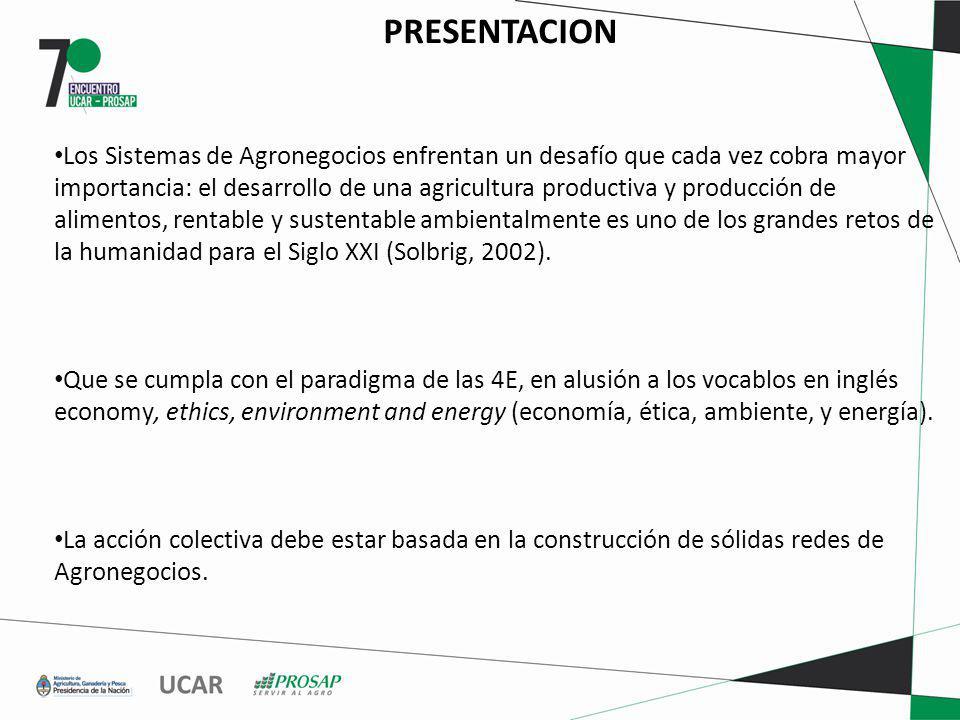 PRESENTACION Los Sistemas de Agronegocios enfrentan un desafío que cada vez cobra mayor importancia: el desarrollo de una agricultura productiva y producción de alimentos, rentable y sustentable ambientalmente es uno de los grandes retos de la humanidad para el Siglo XXI (Solbrig, 2002).