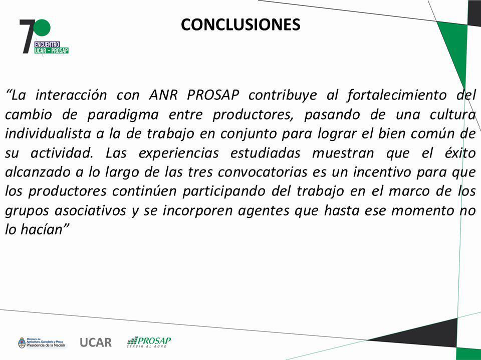 CONCLUSIONES La interacción con ANR PROSAP contribuye al fortalecimiento del cambio de paradigma entre productores, pasando de una cultura individualista a la de trabajo en conjunto para lograr el bien común de su actividad.